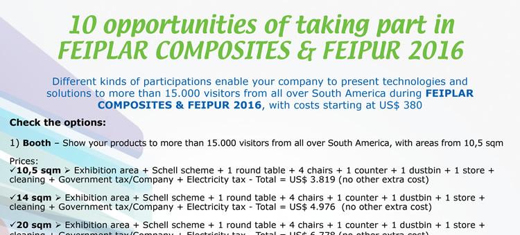 10 opportunities of taking part in FEIPLAR COMPOSITES & FEIPUR